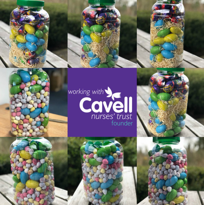Jar of chocolate eggs to raise money for Cavell Nurses' Trust